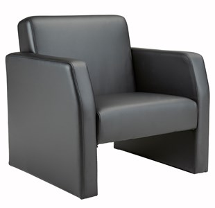 Face Single Leather Seat Armchair - Black FA1/BL/BLK