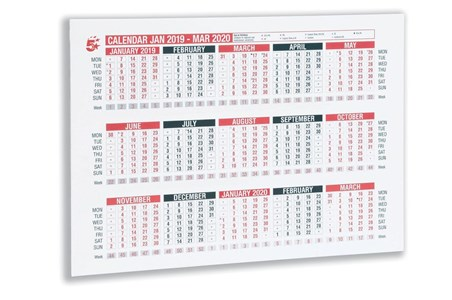 Business 2019 Calendar Wall/Desk A4 (Pack of 1)