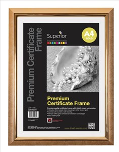 Business Deluxe Certificate Frame Styrene Front A4 Gold (Pack of 1)
