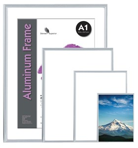 Business Display Frame Front Loading with Fixings Aluminium A3 (Pack of 1)