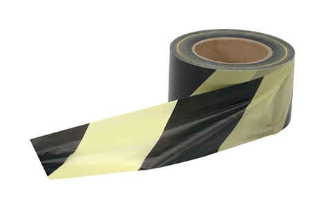 Business Barrier Tape in Dispenser Box 72mm x 500m Yellow and Black (Pack of 1)