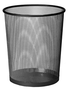 Business Office Mesh Waste Bin Lightweight Sturdy Scratch Resistant 15-20 Litres 275x350mm Black