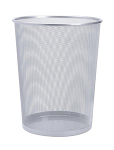 Business Office Mesh Waste Bin Lightweight Sturdy Scratch Resistant 15-20 Litres 275x350mm Silver