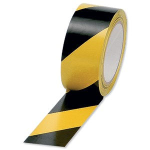 Business Hazard Tape Internal Use Soft PVC 50mm x 33m Black and Yellow (Pack of 1)