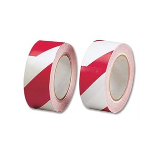 Business Hazard Tape Internal Use Soft PVC 50mm x 33m Red and White (Pack of 1)