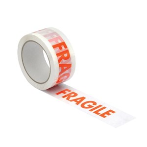 Business Printed Fragile Tape Polypropylene 50mm x 66m Red on White (Pack of 6)