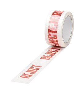 Business Printed Reject Tape Polypropylene 50mm x 66m Red on White (Pack of 6)