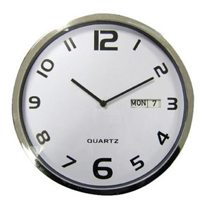 Business Wall Clock with Date and Coloured Case Round Diameter 300mm Grey (Pack of 1)