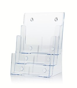Deflect-o Multi-tier Literature Display Holder Wall or Desktop 3 x A4 Pockets Clear Ref DE773YTCRY