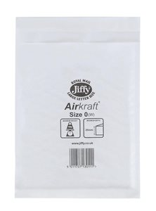 Jiffy Airkraft Bubble Lined Bags Size 0 Internal 140 x 195mm White Ref JL-0 Boxed 100