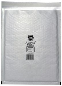 Jiffy Airkraft Bubble Lined Bags Size 5 Internal 260 x 345mm White Ref JL-5 Boxed 50