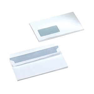 Business Wallet Window Envelopes DL 80gsm Self Seal White (Pack of 1000)