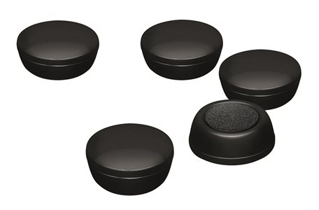 Business Office Round Plastic Covered Magnets 20mm Black Pack 10