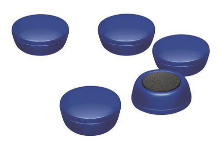 Business Office Round Plastic Covered Magnets 20mm Blue Pack 10