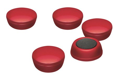 Business Office Round Plastic Covered Magnets 20mm Red Pack 10