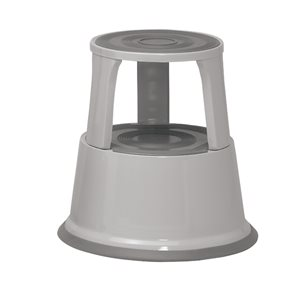 Business Facilities Step Stool Mobile Spring-loaded Castors Max 150kg Top D290xH430xBase D435mm 5kg Grey