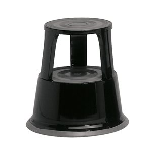 Business Facilities Step Stool Mobile Spring-loaded Castors Max 150kg Top D290xH430xBase D435mm 5kg Black