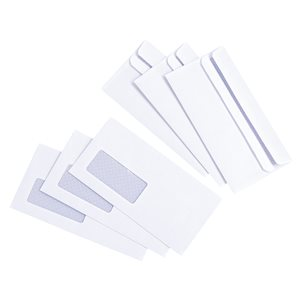 Basics Envelope Press Seal with Window 80gsm DL White (Pack of 1000)