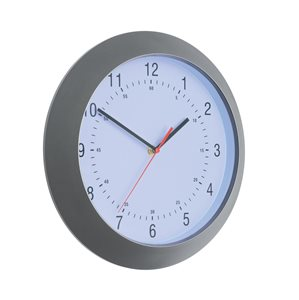 Business Wall Clock with Coloured Case Diameter 300mm Dark Grey (Pack of 1)