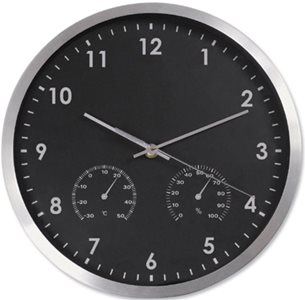 Business Wall Clock with Temperature and Hygrometry Dials Diameter 300mm Black/Silver (Pack of 1)