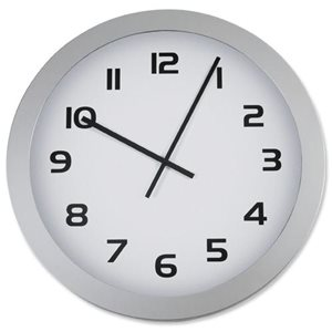Business Wall Clock with Coloured Case Diameter 250mm White (Pack of 1)