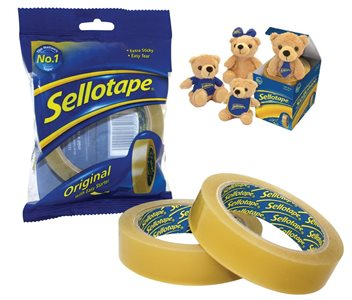 Sellotape Original Golden Tape 24mm x 66m Pk6 Free teddy bear with each pack 1443306